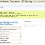 Commission Gustavus 150 Survey website