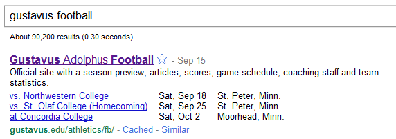 "Google search for ""gustavus football"""