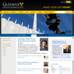 The Gustavus homepage's new colors